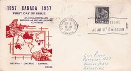 6TH COMMONWEALTH MINING AND METALLURGICAL CONGRESS. FDC CANADA OTTAWA CIRCA 1957 - BLEUP - Primi Giorni (FDC)