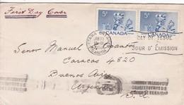 FDC CANADA OTTAWA CIRCA 1956 CIRCULEE BUENOS AIRES BANDELETA PARLANTE - BLEUP - 1952-1960