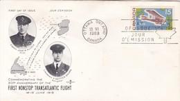 FIRST NONSTOP TRASATRANTIC FLIGHT. COMMEMORATING 50TH ANNIVERSARY. FDC CANADA OTTAWA CIRCA 1969 - BLEUP - First Day Covers