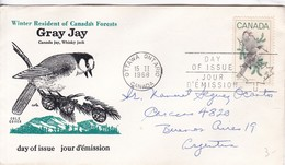 WINTER RESIDENT OF CANADA'S FOREST, GRAY JAY. FDC CANADA OTTAWA CIRCA 1968 - BLEUP - First Day Covers