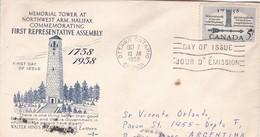 MEMORIAL TOWER NORTHWEST ARM HALIFAX, FIRST REPRESENTATIVE ASSEMBLY. FDC CANADA OTTAWA CIRCA 1958 - BLEUP - 1952-1960