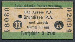 AUSTRIA JZ1024 Bad Aussee PA Grundisee PA 1934 Fahrkarte Billet Ticket - Europa