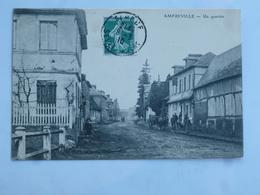 C.P.A. 27 AMFREVILLE : Un Quartier , Animé, Timbre En 1910 - France