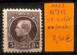 [814871] **/Mnh-Belgique 1922 - N° 217, 5F Violet, Personnages, Portraits, Célébrité - Belgium