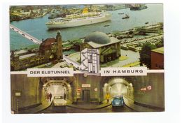 Bateau Paquebot Hanseatic Dampfer Hamburg Hafen Der Elbtunnel Hambourg Timbre Cachet 1968 - Passagiersschepen