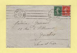 Krag - Paris XV - Pl. De Vaugirard - 4 Lignes Droites Inegales - 1917 - Oblitérations Mécaniques (flammes)