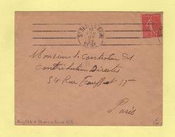 Krag - St Denis Sur Seine - 4 Lignes Droites Inegales + Bloc Dateur Flier Seul En Arrivee Paris XVII Distribution - 1932 - Postmark Collection (Covers)