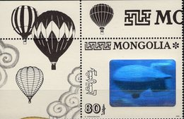Ulan Bator 1993 Zeppelin Hologramm LZ Mongolei 2482+ ER-Briefmarke ** 8€ Aus Kleinbogen Air Bloc Stamps Bf Mongolia - Hologrammes