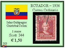 ECUADOR  1936 - CORREO ORDINARIO - Islas Galápagos. Cristobal Colon - Ecuador