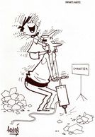 """HERVE  - """" Enfant Et Homme Sur Un Chantier """" - Produit BALLOTYL - Chemist's"""