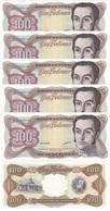 Venezuela - 5 Pcs X 100 Bolivares 13.10. 1998 XF+/aUNC- Yellowing Ukr-OP - Venezuela