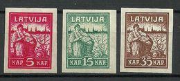 LETTLAND Latvia 1919 Michel 25 - 27 * - Lettonia