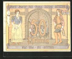 Billet De Nécessité Osterode Am Harz 1922, 50 Pfennig, Rose, Ritter Avec Bäuerin Et Stadttor - Lokale Ausgaben