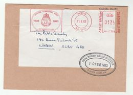 1983 Swindon JOIN TERRITORIAL ARMY 75th ANNIV 1908 1983 METER Slogan CHAPLAIN ROYAL MILITARY COLLEGE OF SCIENCE COVER Gb - Militaria