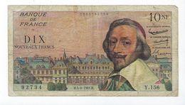 France Billet 10 NF Richelieu 1961 Y.156 - 1959-1966 ''Nouveaux Francs''