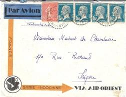 1932 - Enveloppe PAR AVION  VIA AIR-ORIENT  Pour Saïgon  Affr.  à 6,50 Dont Bande De 4 Pasteur - 1921-1960: Modern Period