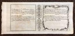 DEPOSITERIA GRANDUCALE TOSCANA BIGLIETTI 1766 1/2 LIBBRA INCISIONE DI F. VERKRUYS Q.FDS Cm.139 - Unclassified