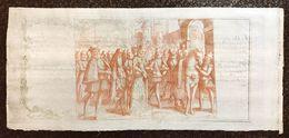 DEPOSITERIA GRANDUCALE TOSCANA BIGLIETTI 1766 1 LIBBRA INCISIONE DI ANTONIO TEMPESTA Q.FDS Cm.146 - Italy