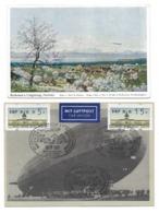 ZEPPELIN Friedrichshafen Afrika Fahrt L59 Vor 70 Jahren Graf Zeppelin 100. Geburtstag, 2 Karten - Dirigeables