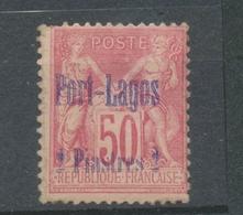 Colonie PORT LAGOS N°5 2Pi50 Sur 50c Rose Sage. Neuf * B. Signé Calves. N3280 - Port-Lagos (1893-1931)