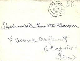 """1940- Enveloppe En F M  Agence Postale à Bord """" CUIRASSE-COURBET  """" Pour Bagnolet - Guerra De 1939-45"""