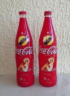 2 Bouteilles De 1 LITRE COCA COLA Vide Série Limitée 2002 PIN'UP 60' S - Limonade
