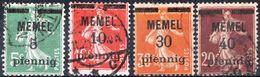 MEMEL, SEMEUSE CAMEE, 1920, FRANCOBOLLI USATI Michel 18b,19y,21,22   Scott 18,19,21,22 - Memel (1920-1924)