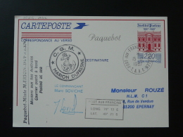 Mission Du Paquebot Marion Dufresnes Aux TAAF 1987 Entier Postal Intitut Pasteur Stationery Card - Polar Ships & Icebreakers