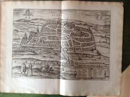 Bloys (ville De Blois) Authentique Carte Ancienne De 1575 ! Par Braun Hogenberg - Document Exceptionnel  ! - Geographical Maps