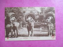 CPA CAMBODGE PNOM PENH PROMENADE A DOS D'ELEPHANT - Cambodia