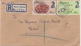 ILE MAURICE  RECOMMANDE  BUREAU  QUATRE BORNES - Mauritius (1968-...)