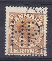 Denmark Perfin Perforé Lochung (H54) 'HP' Holger Petersen, København Mi. 75, 1 Kr. Chr. X. Stamp (2 Scans) - Abarten Und Kuriositäten