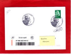 Marianne L'engagée LV (0,80 €) + Sticker Suivi  /  Lettre Suivie Circulé / Obl PJ 20/07/18  / Signé Catelin - France