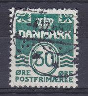 Denmark Perfin Perforé Lochung (G21) 'GK' Gentofte Kommune, Charlottenlund 30 Øre Wellenlinien Stamp (2 Scans) - Abarten Und Kuriositäten