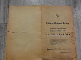Willebroek  *  (2 Documenten) Rapport Rijksmiddelbare School Meisjes Schooljaar 1940-'41 + Lijst Leerlingen - Willebroek