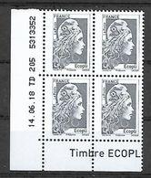 "France 2018 -  Yv N° 5251 ** - Marianne L'engagée - ""Gris Ecopli""  (coin Daté) - Unused Stamps"