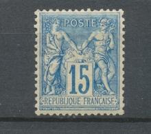 France SAGE N°101 15c Bleu Papier Quadrillé Neuf * TB. N3276 - 1876-1878 Sage (Type I)