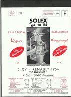 SOLEX Fiche Technique Juillet 1956 - Vieux Papiers
