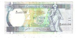 BILLETE (Banknote) Bank Centrali Ta MALTA 5 Liri - Malte