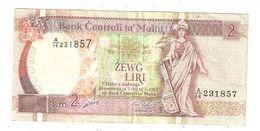 BILLETE (Banknote) Bank Centrali Ta MALTA 2 Liri - Malta