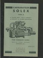 SOLEX Notice Technique Pour Carburants Gazeux - Vieux Papiers