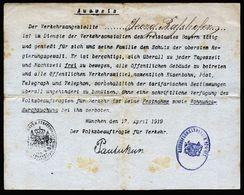 A3104) München 17.4.1919 Ausweis Von Räterepublik April / Mai 1919 Sehr Selten !! - Historische Dokumente