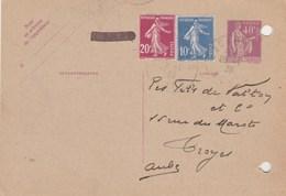 Entier Postal Yvert 281 CP1 Date 303 Repiquage Mines Anzin Complément Affranchissement DENAIN Nord 1939 Pour Troyes Aube - Biglietto Postale