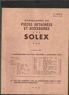 SOLEX Pièces Detachées Et Accessoires 1952 - Old Paper