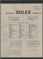 SOLEX Carburateurs 1956 - Old Paper