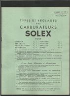 SOLEX Types Et Réglages Des Carburateurs 1956 - Old Paper