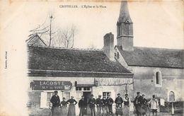 37-CROTELLES- L'EGLISE ET LA PLACE - Francia