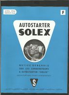 SOLEX Notice Autostarter 1956 - Vieux Papiers
