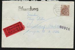 1957 1961 DDR Michel Nr. 585 Eilsendung / Exprès Von Magdeburg Nach Düsseldorf, Yvert 322 Sc # 482, 2 Scans - DDR