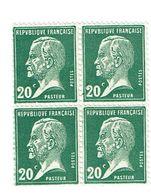 172 Pasteur 20 C. Vert Bloc De 4  Luxe - France